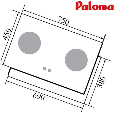 Kích thước lắp đặt Bếp âm Paloma PD-T75CSB